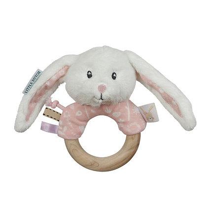 Little dutch - hochet anneau lapin adventure pink