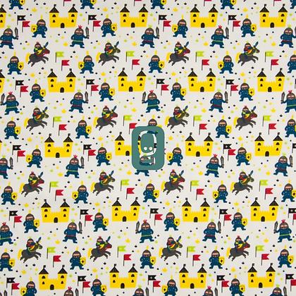 Jersey de coton imprimé châteaux et chevaliers