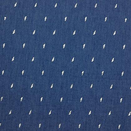 Coton Jeans motif éclair argent