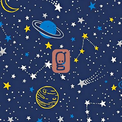 Coton imprimé planètes