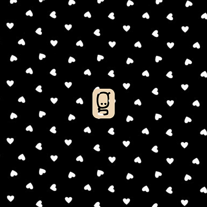 Coton antibactérien coeurs blancs sur fond noir