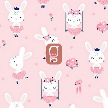 Coton imprimé lapin danseuse étoile