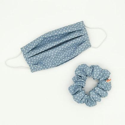 Masque Bleu Ciel + Chouchou assorti Taille Unique