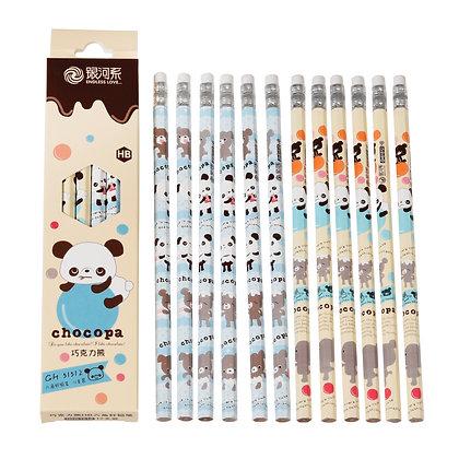 Lot de 12 crayons ordinaires Panda