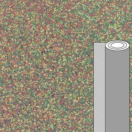 Coupon tissu pailleté irisé vert doré