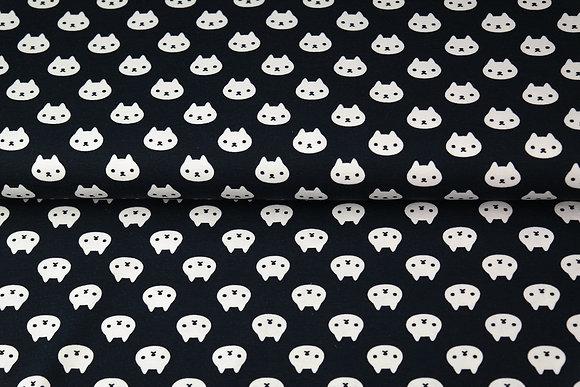 Popeline de coton imprimee Chat noir - Stenzo