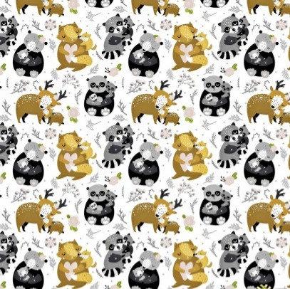 Coton imprimé animaux de la forêt