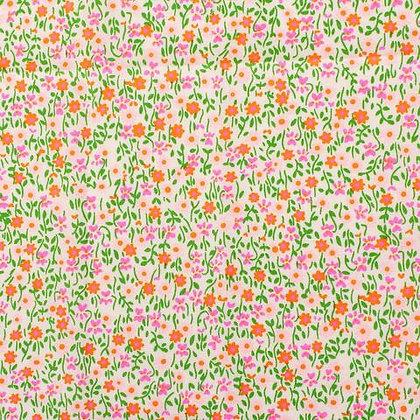 Coupon coton enduit Flower Power rose - Petit Pan