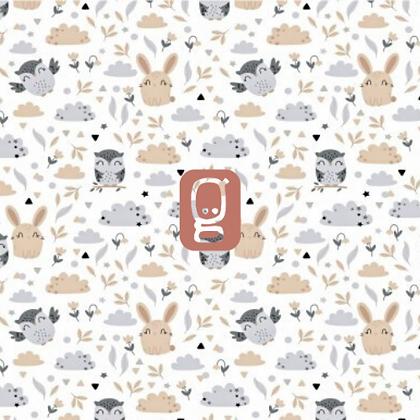 Coton imprimé hiboux et lapins