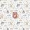 Thumbnail: Coton imprimé hiboux et lapins