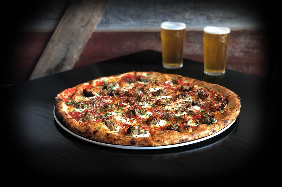 Meatball Pizza with beer