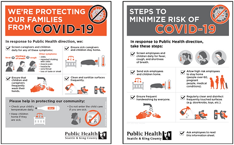 Image of COVID-19 flyers from Public Health Seattle-King County