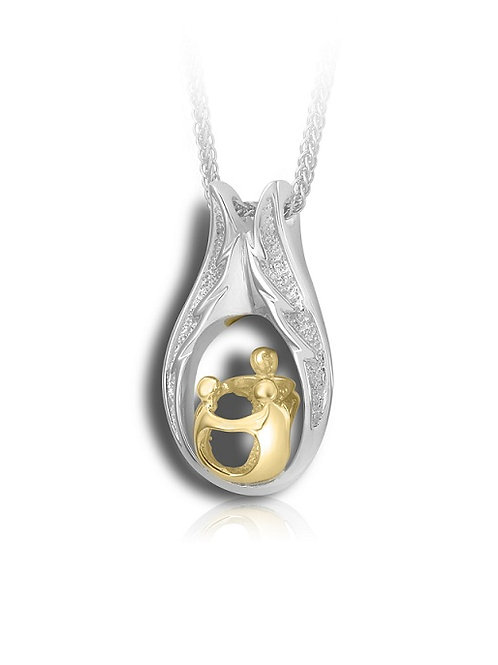 Family pendant with 3 People 2 Tone