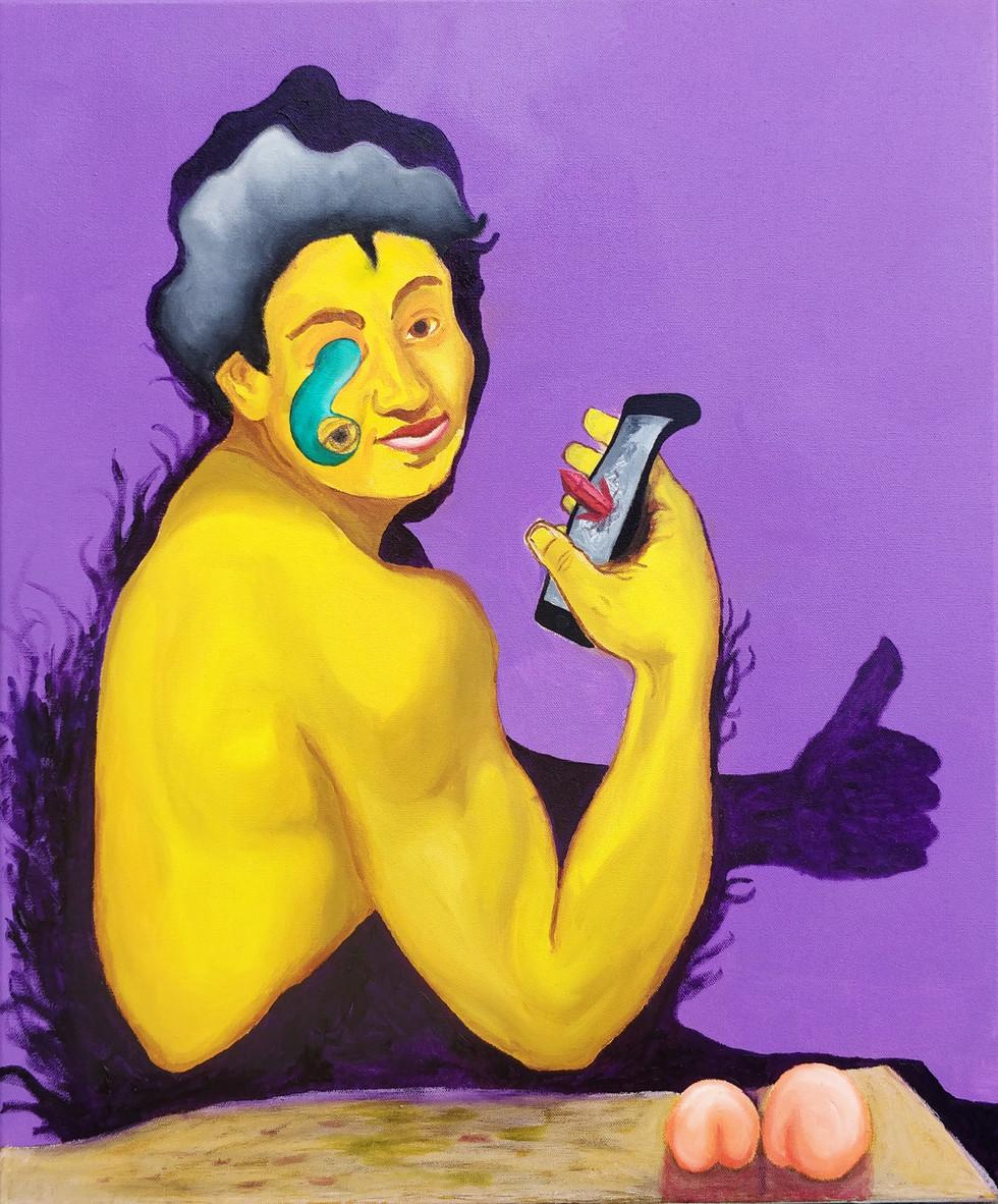 Tech sick Baco 2020   Oil and oil pastel on canvas.   63 cm x 50 cm x 4 cm   Contacts: hugolamip@gmail.com 00351913251338