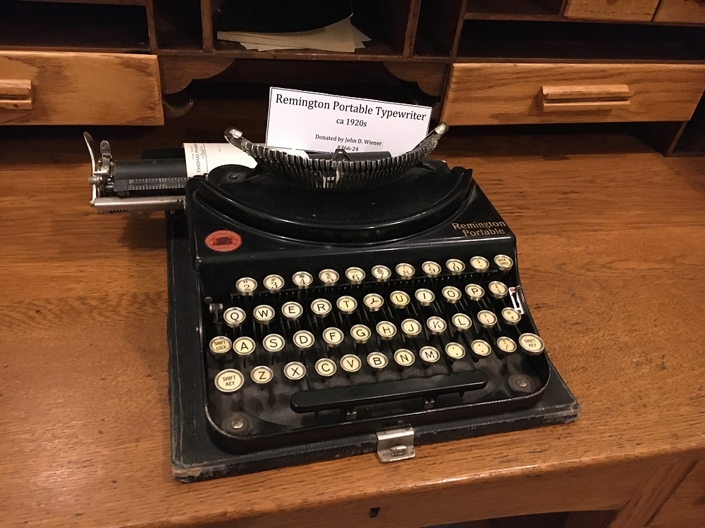 Photo of a Remington portable typewriter in the Plainsman Museum