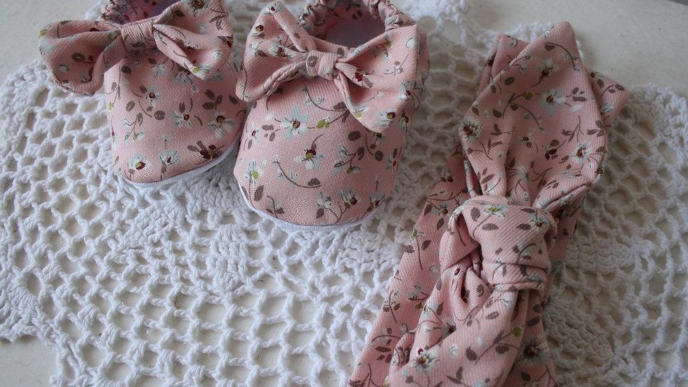 Conjunto zapatitos almendro rosa viejo  con lazo+ diadema