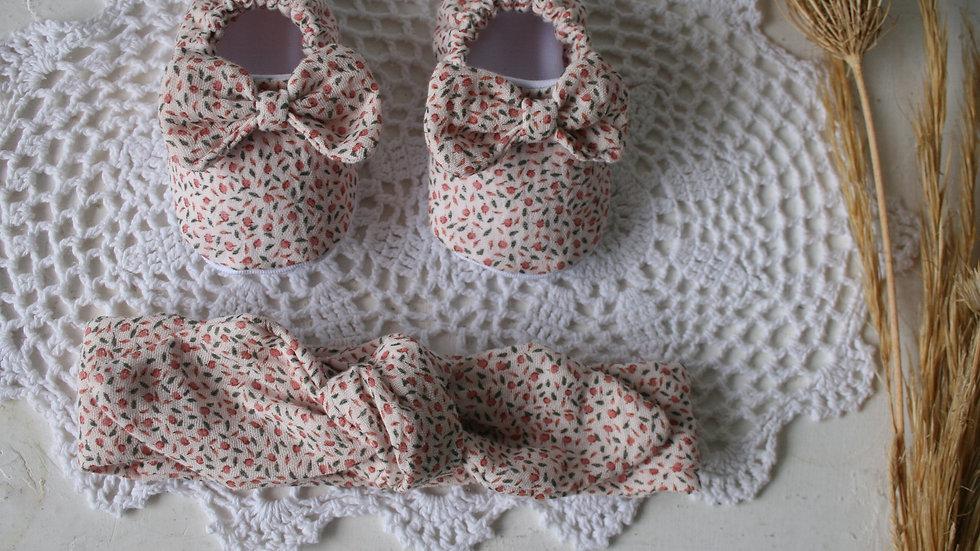 Conjunto zapatitos peonía con lazo+ diadema