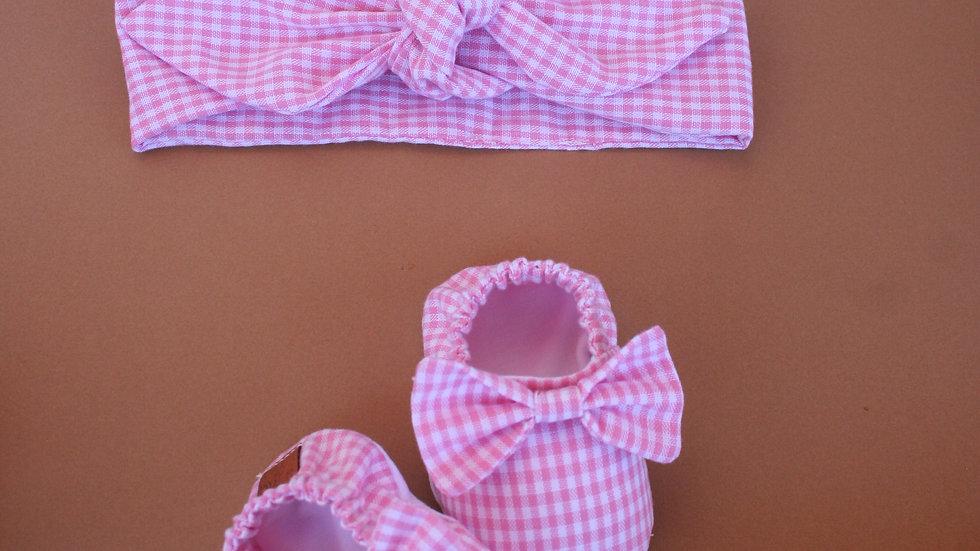 Vichy rosa con lazo y diadema con lazo+ diadema simple