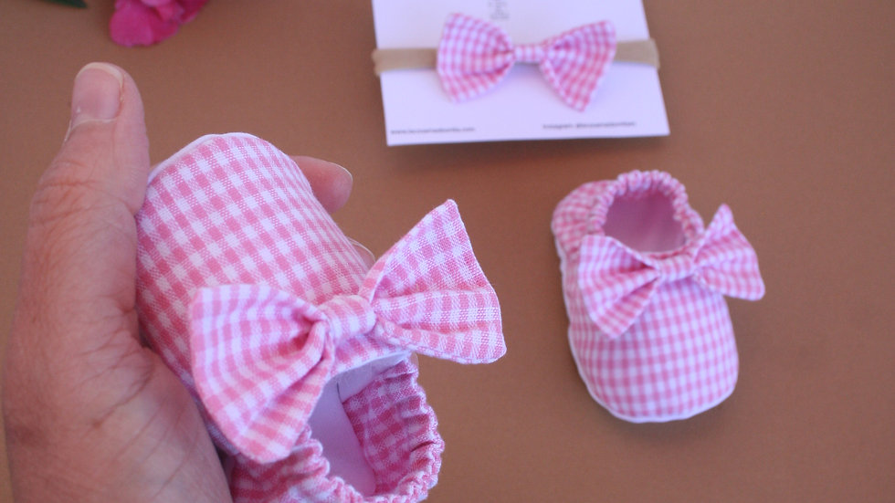 Vichy rosa con lazo y diadema con lazo