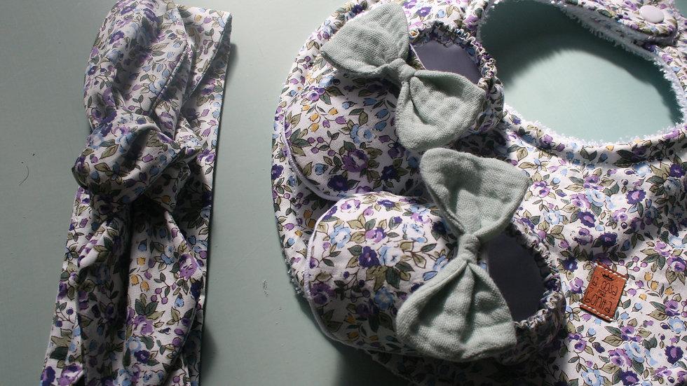 Conjunto lavanda zapatitos c/lazo mint+ diadema+babero