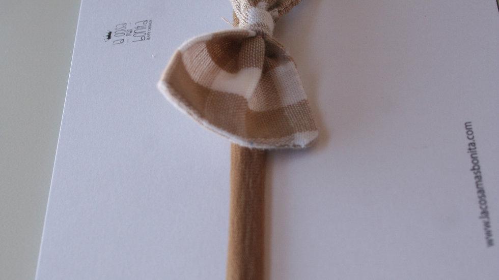 Lazo LITTLE vichy camel para pelo