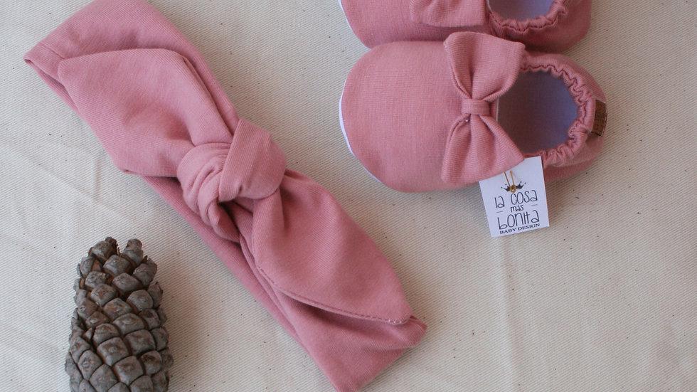 Conjunto rosa viejo (zapatitos lazo+ diadema)