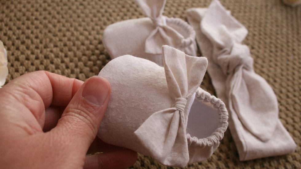 Conjunto JAZMIN zapatitos c/lazo  lavanda y diadema
