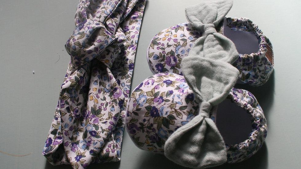 Conjunto zapatitos c/lazo mint  lavanda y diadema