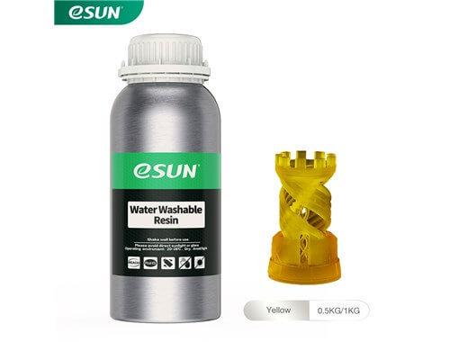 בקבוק שרף איכותי שטיף במים בצבע צהוב מתוצרת eSUN למדפסות DLP/SLA
