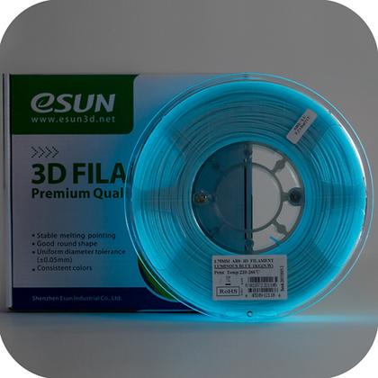 גליל פילמנט איכותי מתוצרת Esun מסוג ABS+ בצבע כחול זוהר בחושך