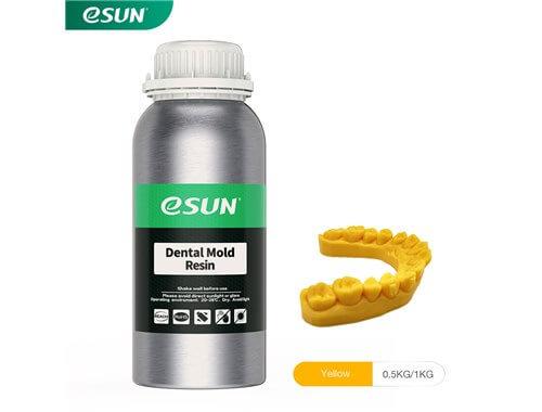 בקבוק שרף דנטלי איכותי בצבע צהוב מתוצרת eSUN למדפסות DLP/SLA