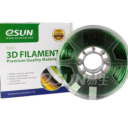גליל פילמנט איכותי מתוצרת Esun מסוג PETG בצבע ירוק שקוף