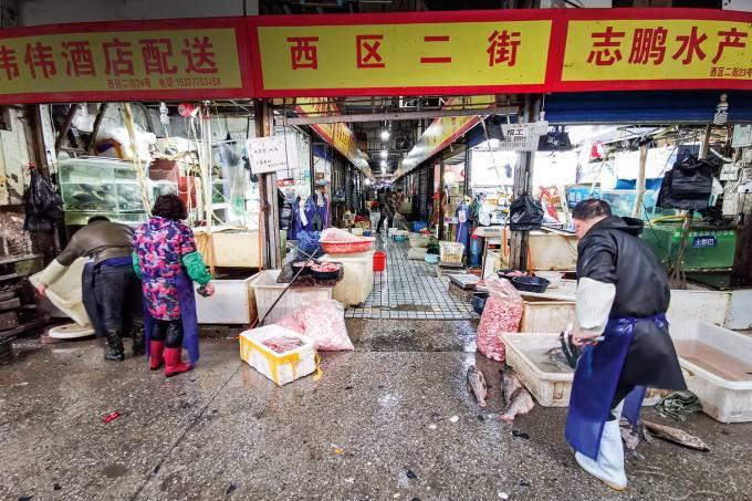 A ORIGEM EM QUESTÃO -Mercado de animais vivos de Wuhan, hoje fechado: o primeiro caso teria sido lá? //Fotoarena