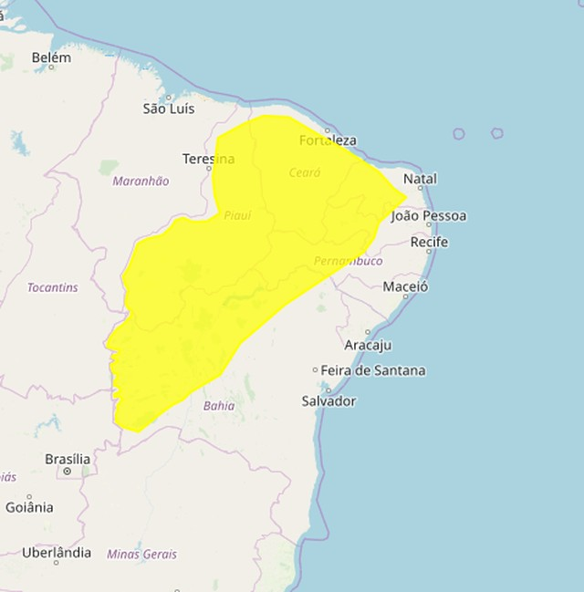 Alerta amarelo do Inmet — Foto: Reprodução