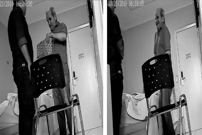 Prefeito de Uiraúna, João Bosco Nonato Fernandes (PSDB), aparece em imagens da PF colocando dinheiro de propina na cueca Reprodução/TV Globo