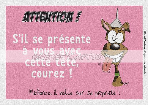"""Plaque humoristique """"Courez !"""" - Collection Coussinets"""