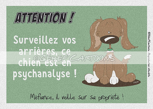 """Plaque humoristique """"Chien en psychanalyse"""" - Collection Coussinets"""