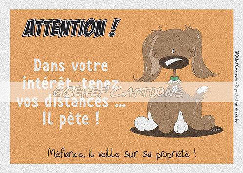 """Plaque humoristique """"Pèteur"""" - Collection Coussinets"""