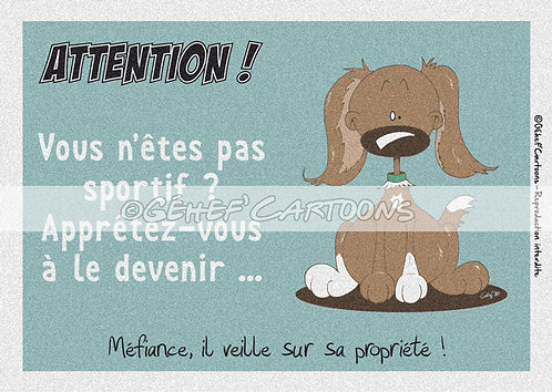 """Plaque humoristique """"Sportif"""" - Collection Coussinets"""