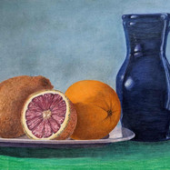 Oranges and a Pitcher by Beth Franco