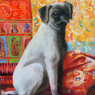 Pug on a Rug by Demoree Anderson