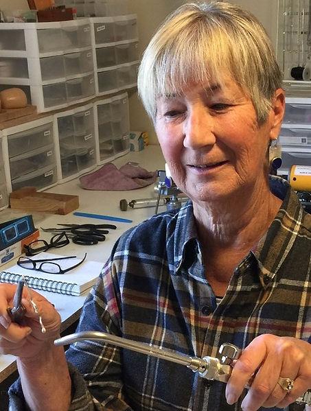 Prescott artist, Leslie Parsons, working in her studio.