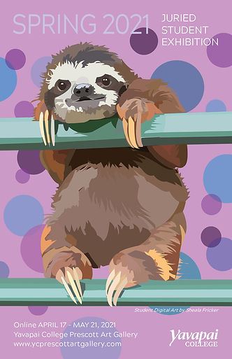 Spring 2021 Student Exhibit announcement. Happy sloth digital illustration on the cover.