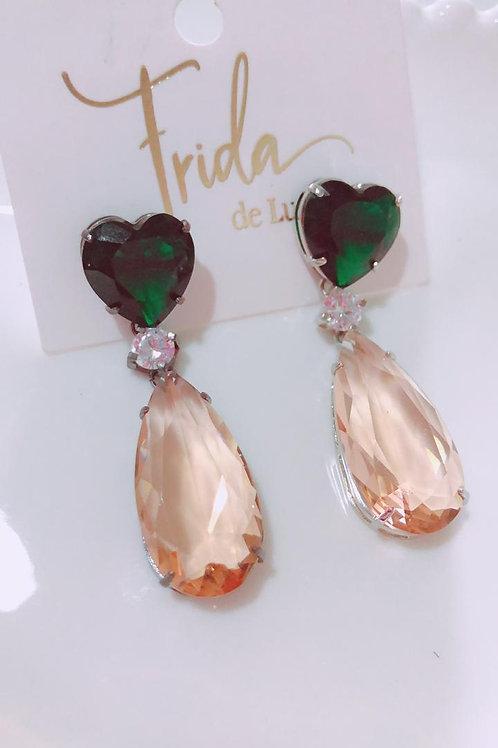 Brinco Pedra Coração Esmeralda Semijóia