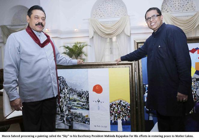 Abstract artist Mueed Saheed presenting painting for His Excellency Mahinda Rajapaksa