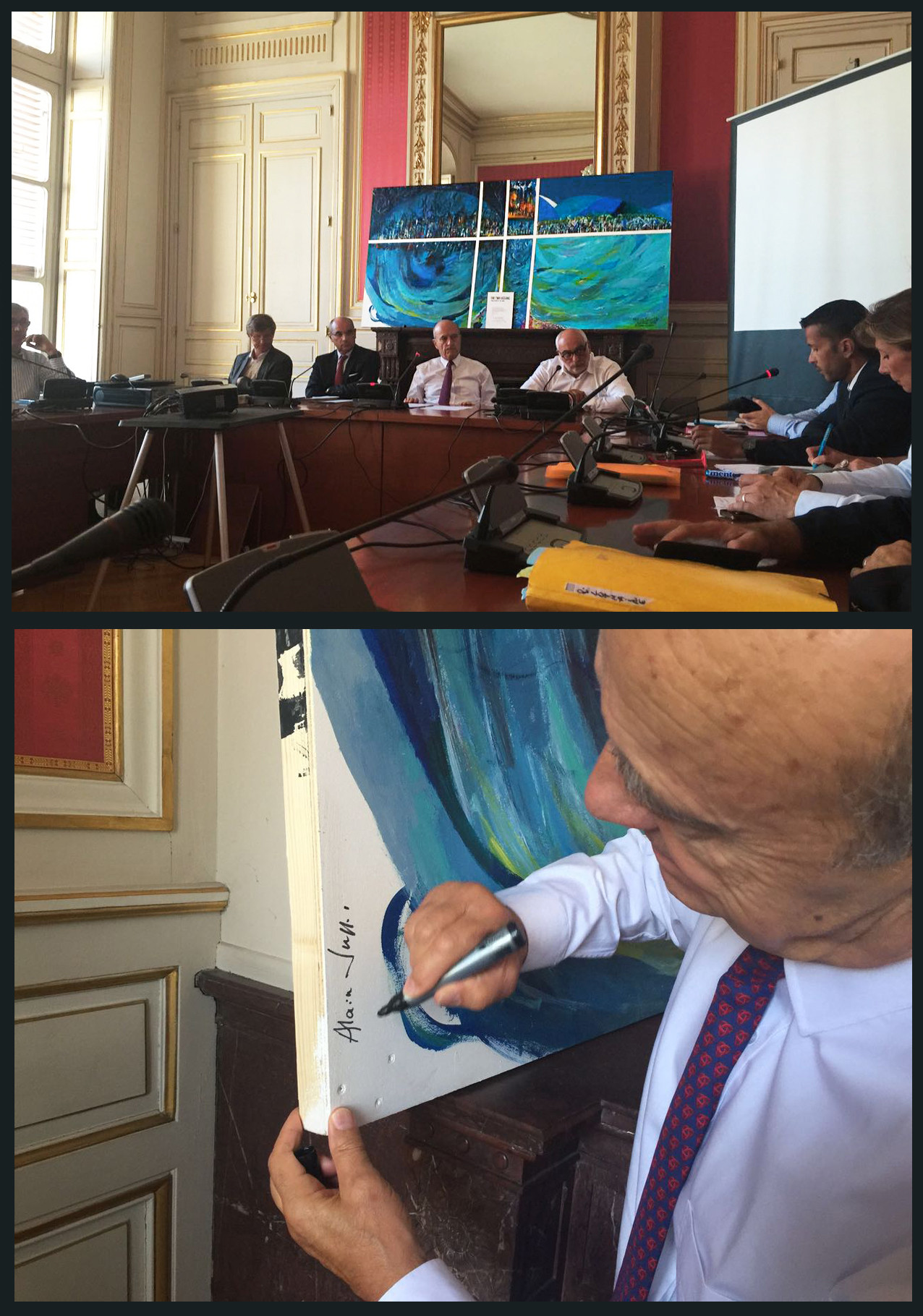 Emerging Artist Sri Lanka Climate Change Conference Alain Juppe French Presidential Candidate Bordeaux France Meeting Signing