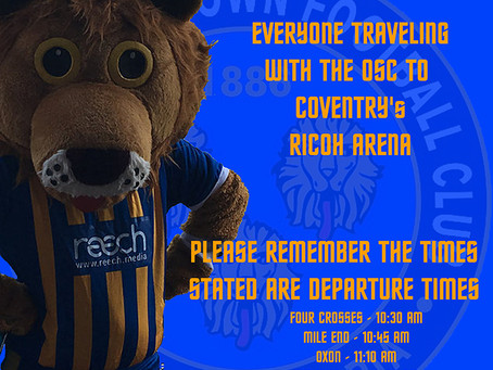 Shrewsbury Town's last away game of the season at Coventry