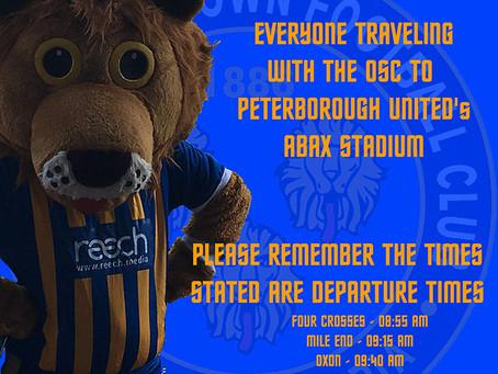 Peterborough Away departure time reminder
