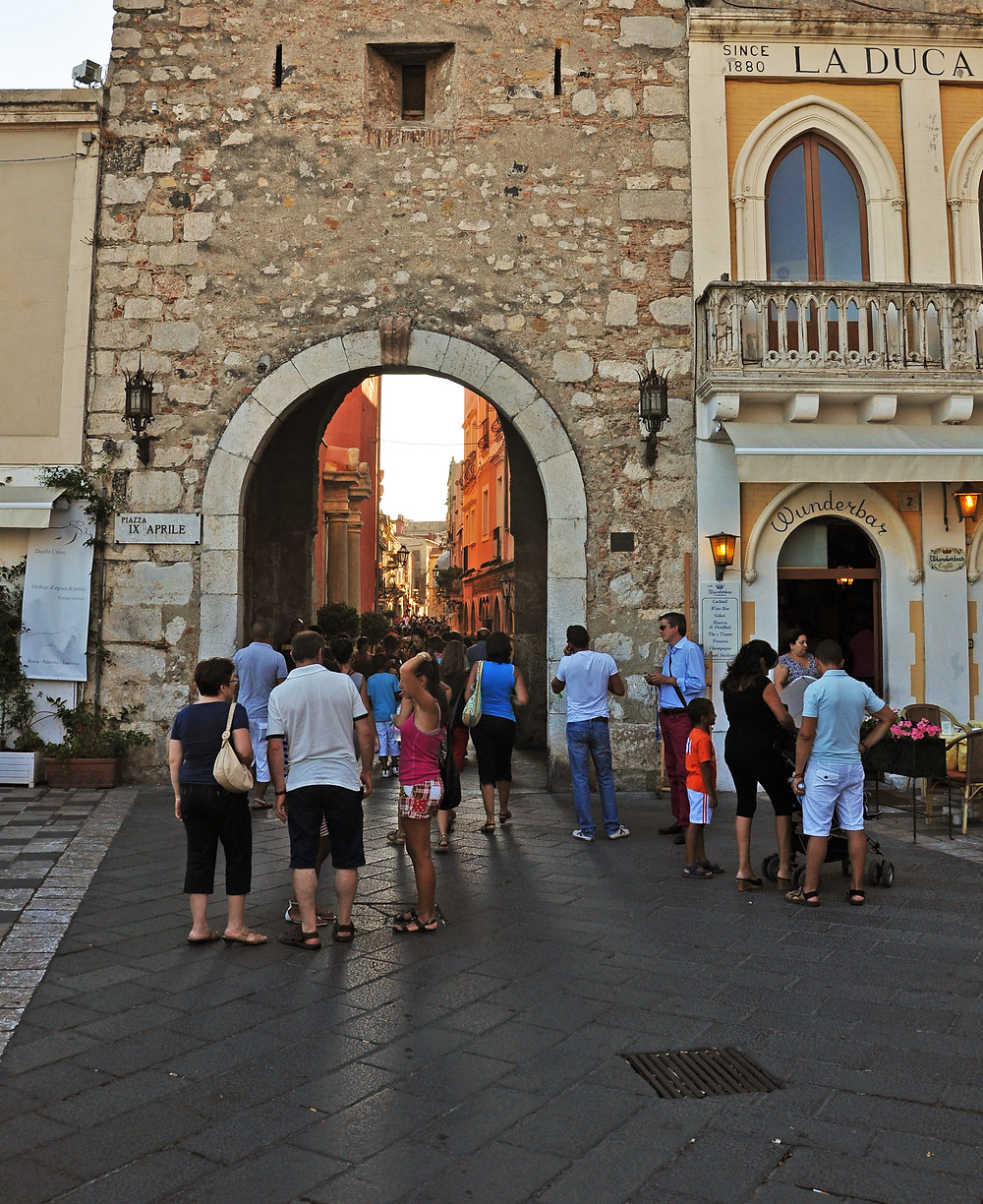 Picture from Taormina. People on the main square.