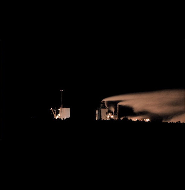 Paper mill at night